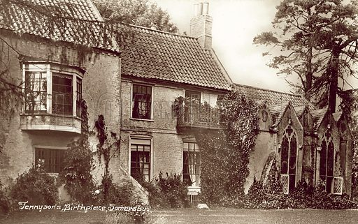 Birthplace of Alfred, Lord Tennyson, Somersby, Lincolnshire. Postcard, early 20th century.