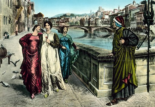 The meeting of Dante and Beatrice.  Postcard, early 20th century.