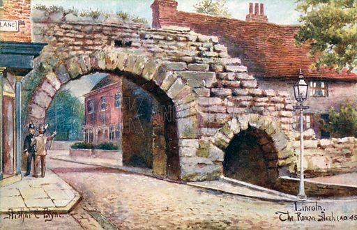 Lincoln, the Roman Arch.  Postcard, early 20th century.