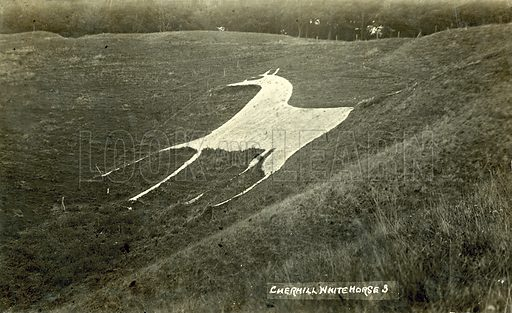Cherhill White Horse.  Postcard, early 20th century.