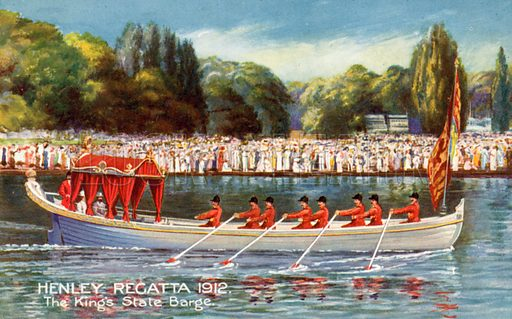 The King's State Barge, Henley Royal Regatta, 1912. Postcard, early 20th century.