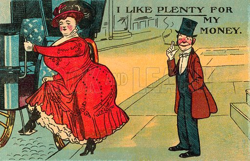 Man and his large wife. Postcard, early 20th century.