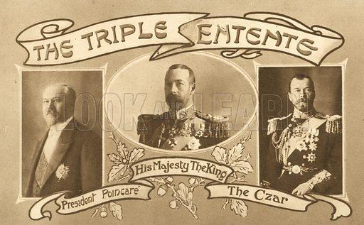 The Triple Entente.  Postcard, early 20th century.