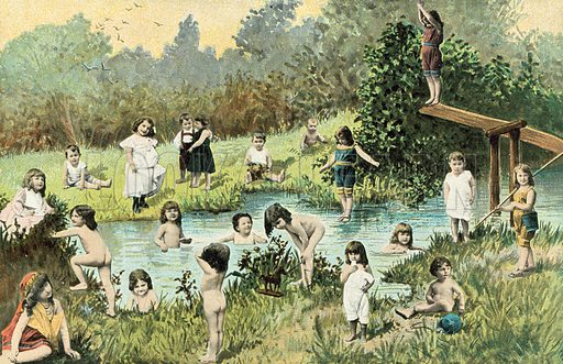 Children swimming in a river