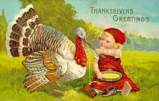 Thanksgiving card with little girl and turkey