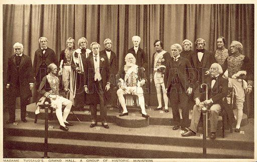 Politicians, Madam Tussaud's. Postcard, early 20th century.