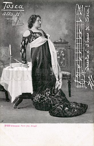 Scene from Tosca.  Postcard, early 20th century. Signed Griggi.