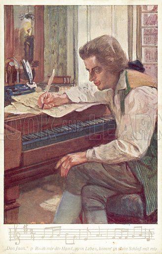 Mozart composing his opera 'Don Giovanni' at the piano