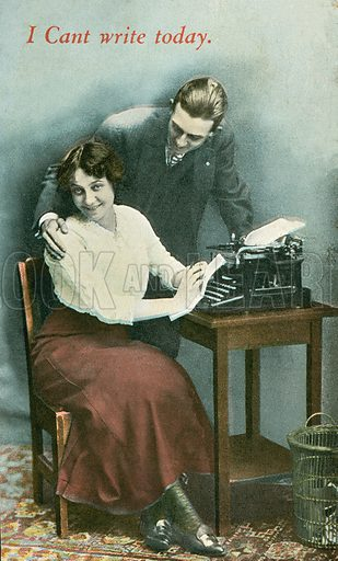 Typist being distracted