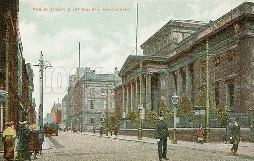 Mosley Street and the art gallery, Manchester.  Postcard, early 20th century.