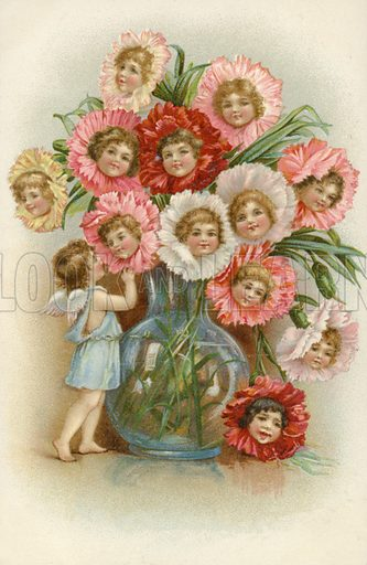 Vase of flowers with children's faces