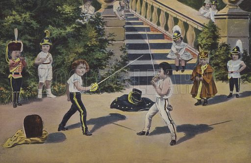 Two little boys fencing in uniforms. Postcard, early 20th century.