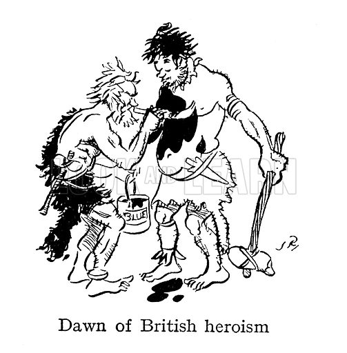 Dawn of British heroism, ancient Britons painting themselves with woad