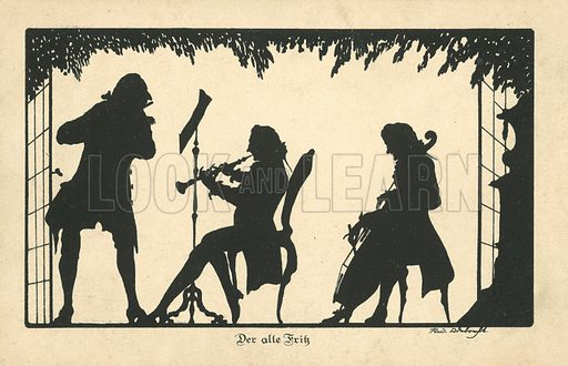 Frederick the Great of Prussia playing music. Postcard, early 20th century.