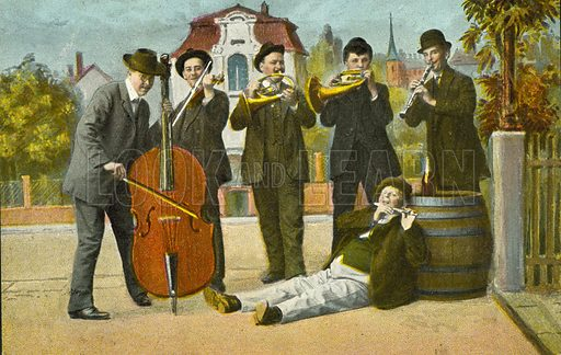 Village band.  Postcard, early 20th century.