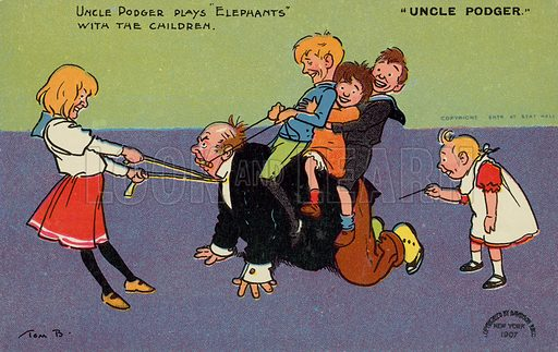 Man playing with his nephews and nieces. Postcard, early 20th century.