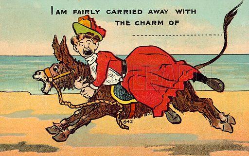 Woman on a run away donkey