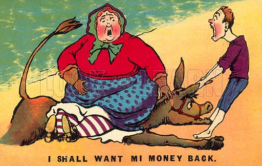 A woman too fat for the donkey ride