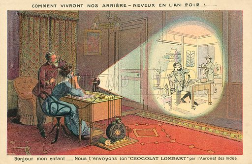 How People Will Live In 2012. Postcard, early 20th century.