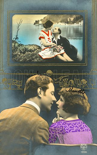 Romantic couple in cinema, watching a romantic film.  Postcard, early 20th century.
