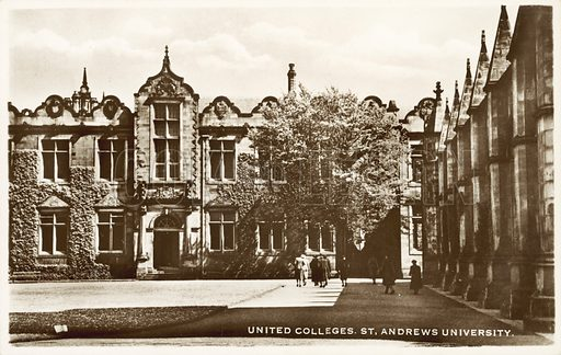 United Colleges, St Andrews University, Scotland.  Postcard, early 20th century.
