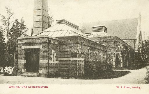 Crematorium, Woking.  Postcard, early 20th century.