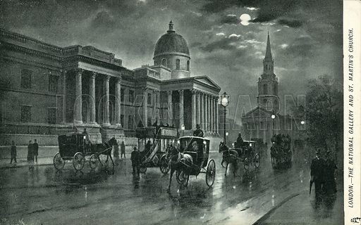 The National Gallery and St Martin's Church, London. Postcard, early 20th century.