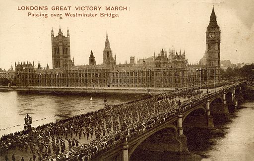 London's great Victory March: passing over Westminster Bridge, July 1919