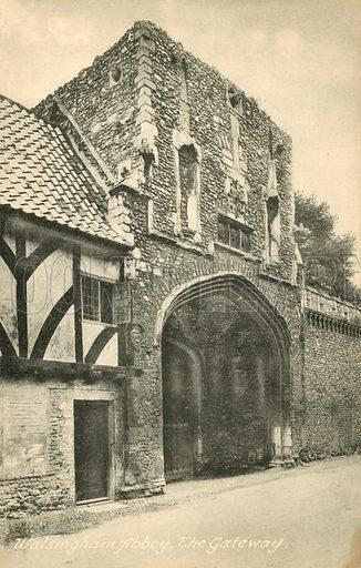 Gateway, Walsingham Abbey. Postcard, early 20th century.