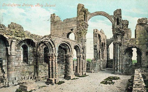 Lindisfarne Priory, Holy Island, Northumberland. Postcard, early 20th century.