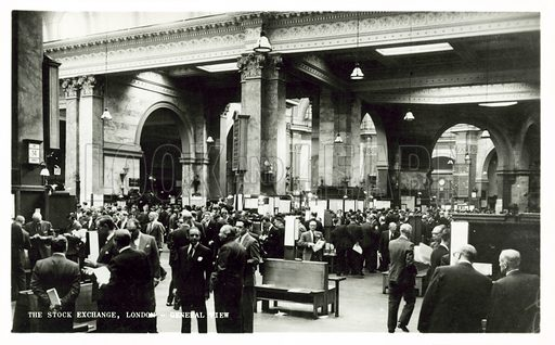 The London Stock Exchange, pre Big Bang.  Postcard, mid 20th century.
