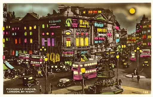 Piccadilly Circus, London, at night.  Postcard, mid 20th century.