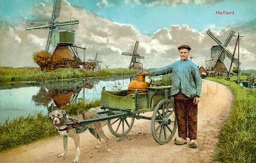 Countryside scene, Holland.  Postcard, early 20th century.