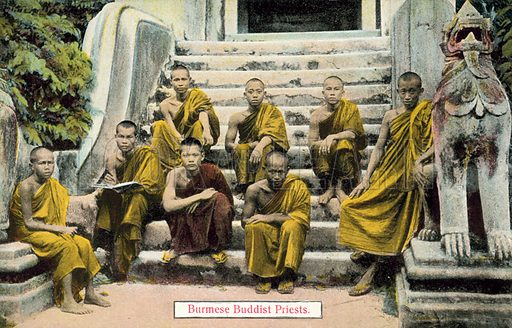 Burmese Buddhist priests. Postcard, early 20th century.