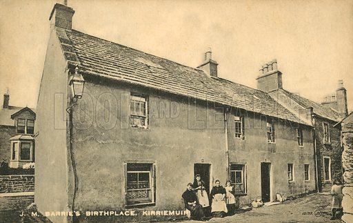 Birthplace of J M Barrie, Kirriemuir.  Postcard, early 20th century.