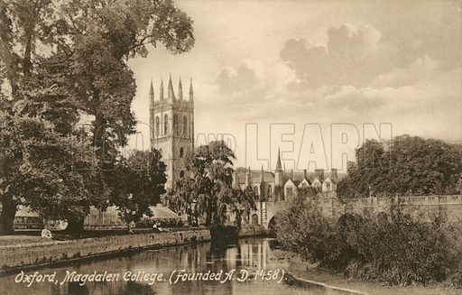 Magdalen College, Oxford. Postcard, early 20th century.