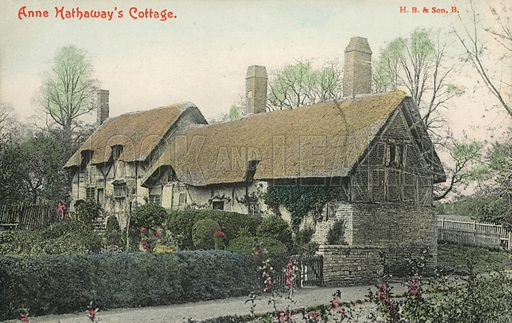 Anne Hathaway's cottage, Stratford upon Avon.  Postcard, early 20th century.