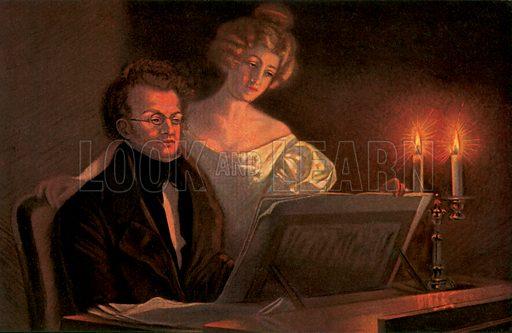 Franz Schubert at the piano