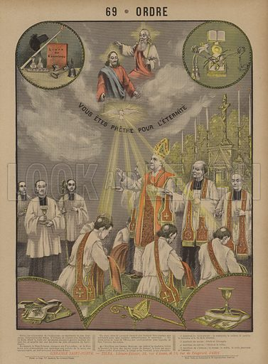 Ordination. Ordre. Illustration for Grand Album d'Images en Couleurs for l'Explication du Catechisme by Abbe Mouterde (Tolra 1899).