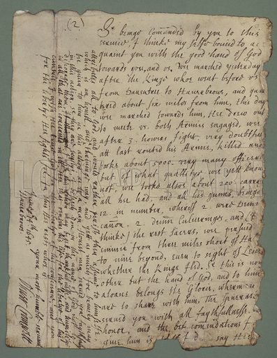 Oliver Cromwell's report on The Battle Of Naseby