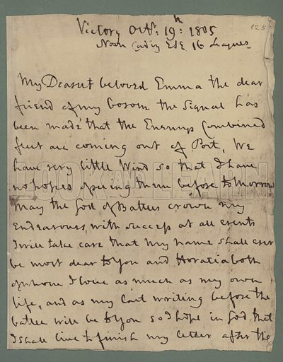 First page of Nelson's unfinished letter to Emma Hamilton