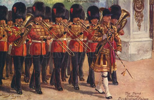 The Coldstream Guards.  Postcard, early 20th century.