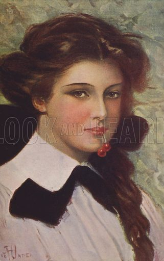 Girl with cherries in her mouth