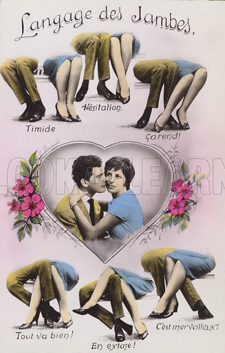Langage des Jambes, The Language of Legs.  Postcard, early 20th century.