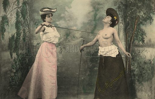 Fencing girls. Postcard, early 20th century.