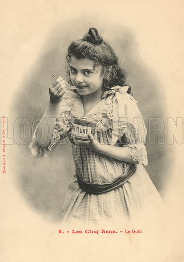The five senses, taste. Postcard, early 20th century.