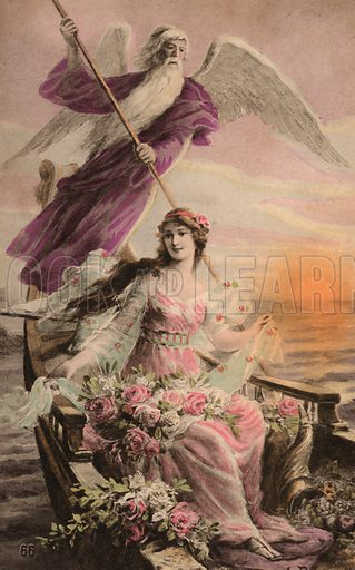 Angel rowing a girl in a boat