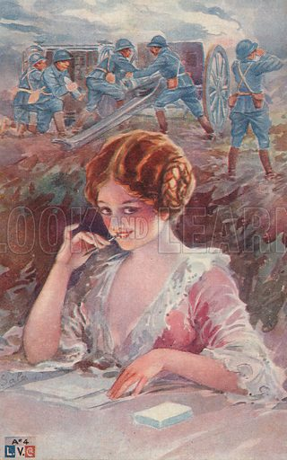Girl writing to a soldier