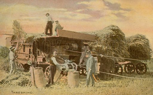 Threshing. Postcard, early 20th century.