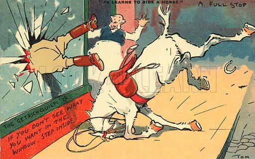 Man thrown from a horse through a window